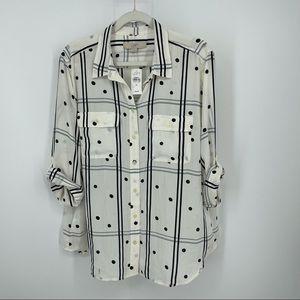 Ann Taylor loft white plaid polka dot button shirt
